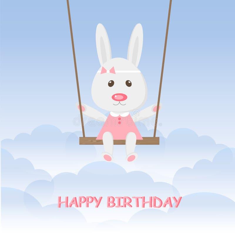 Conejo de las historietas que balancea en el oscilación en el cielo azul Feliz cumpleaños de la muchacha linda de las liebres libre illustration