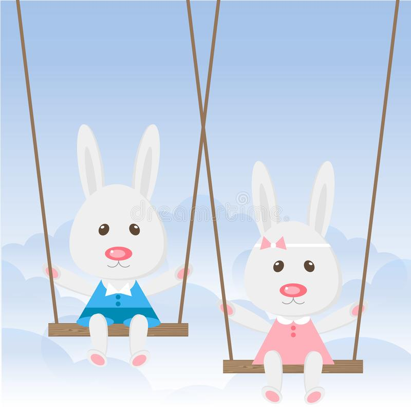 Conejo de las historietas que balancea en el oscilación en el cielo azul Muchacho lindo de las liebres, feliz cumpleaños de la mu libre illustration