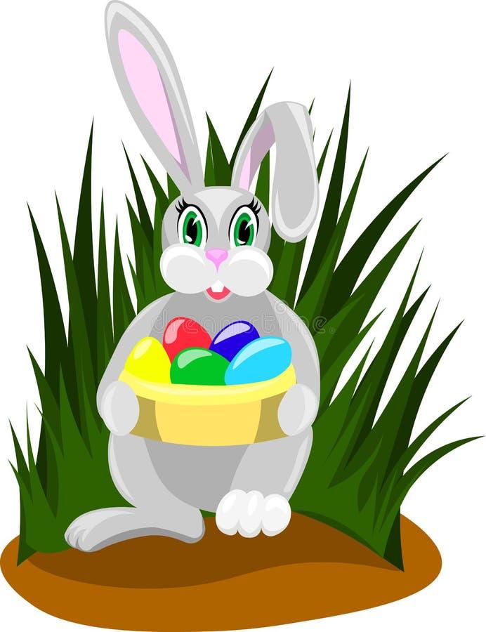 Conejo de Pascua con los huevos coloreados stock de ilustración