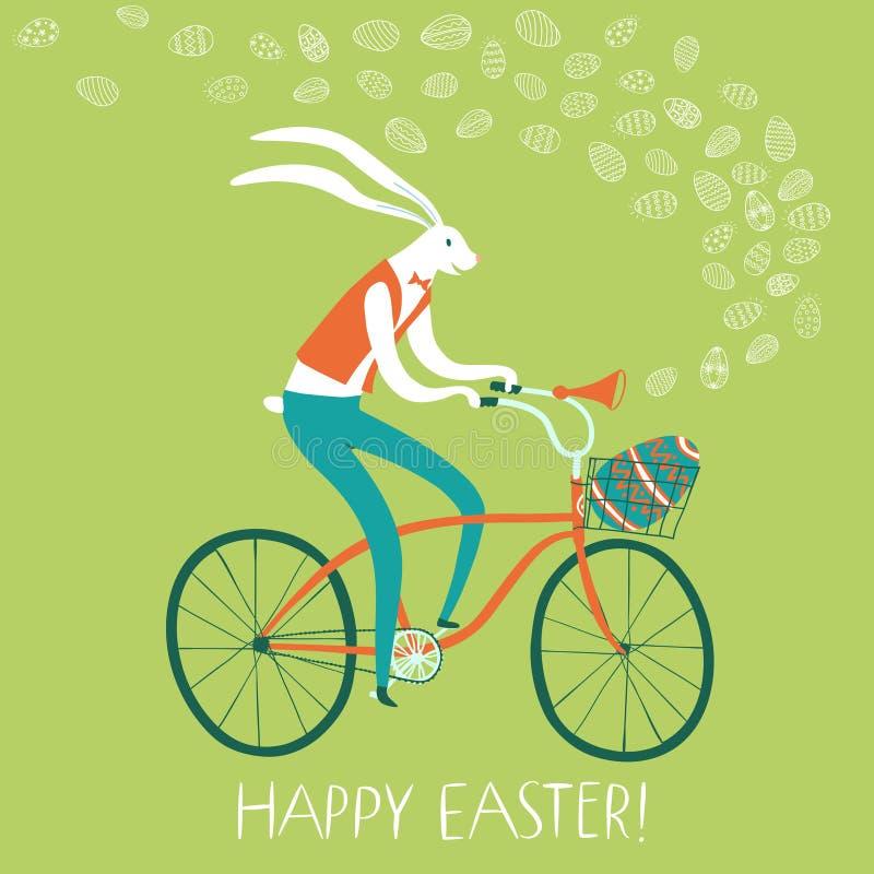 Conejo de Pascua en la bicicleta con el huevo del regalo en cesta ilustración del vector