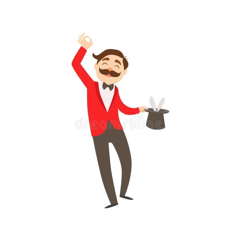 Conejo de Performing His Taking del artista del mago del circo fuera del truco de la prestidigitación del sombrero para la demost stock de ilustración