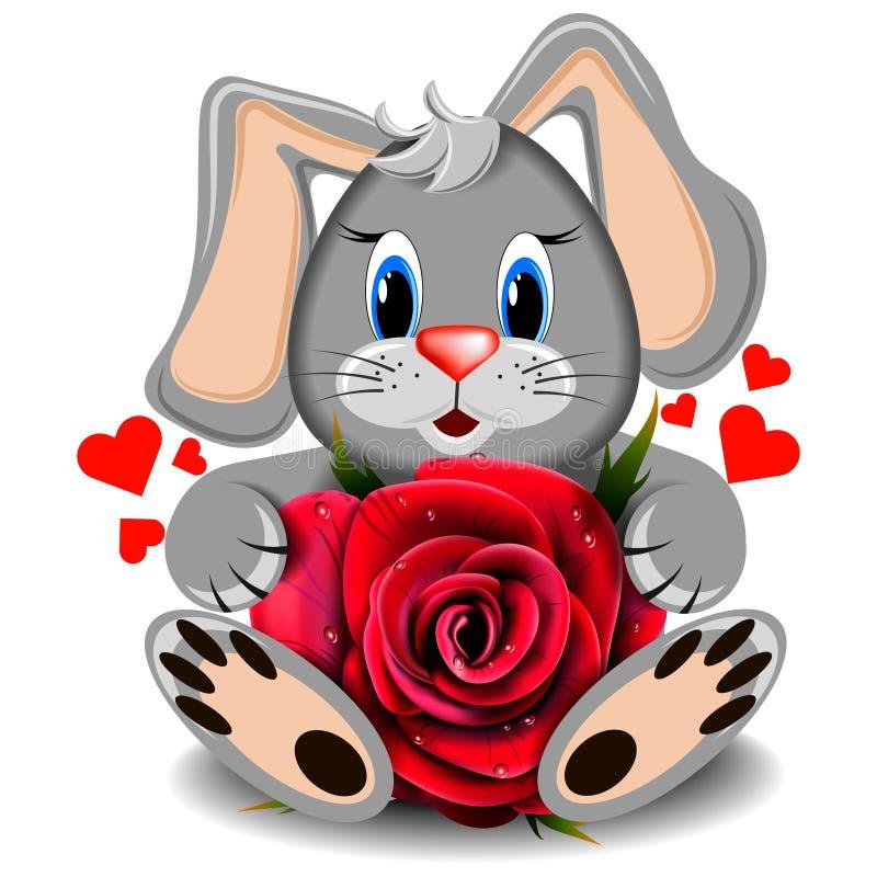 Conejo del amor del juguete con la rosa realista del rojo fotos de archivo libres de regalías