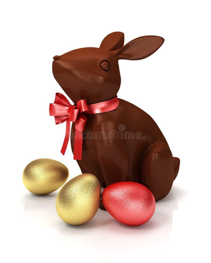 Conejo del chocolate con los huevos y el saludo de Pascua coloridos ilustración 3D stock de ilustración