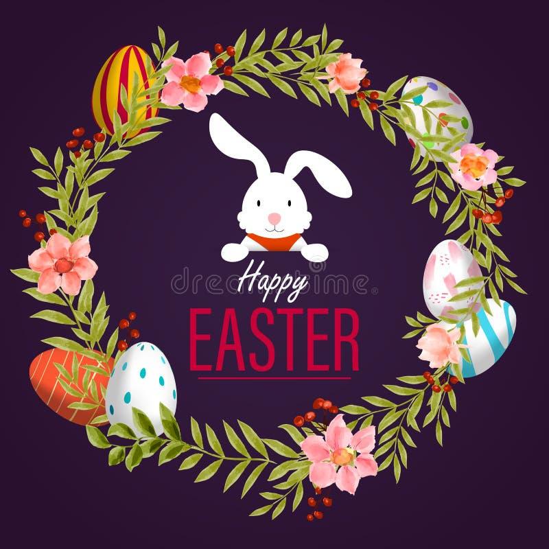 Conejo del huevo de Pascua, vector de las flores de la acuarela del marco de la primavera stock de ilustración