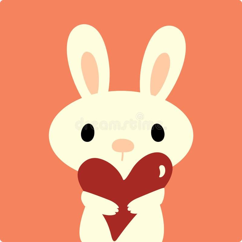 Conejo del vector con amor ilustración del vector