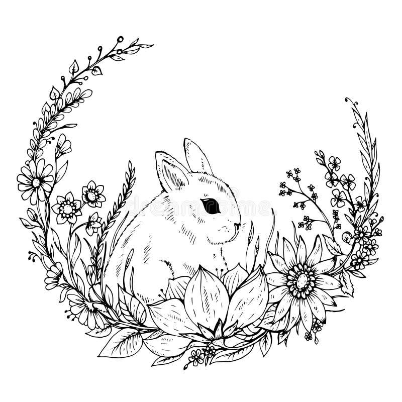 Conejo dibujado mano linda con la guirnalda de flores y de hojas ilustración del vector