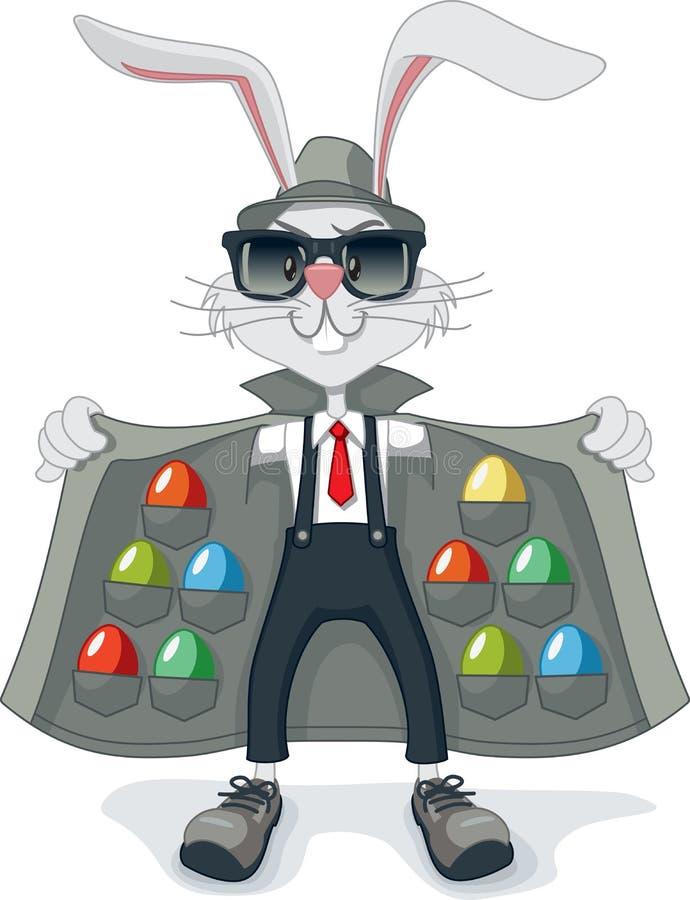 Conejo divertido con la historieta del vector de los huevos de Pascua del contrabando libre illustration