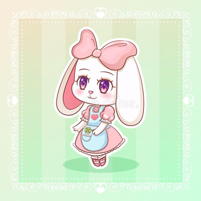 Conejo dulce poca muchacha de conejito linda de la historieta del animado del kawaii en vestido con la cinta rosada libre illustration