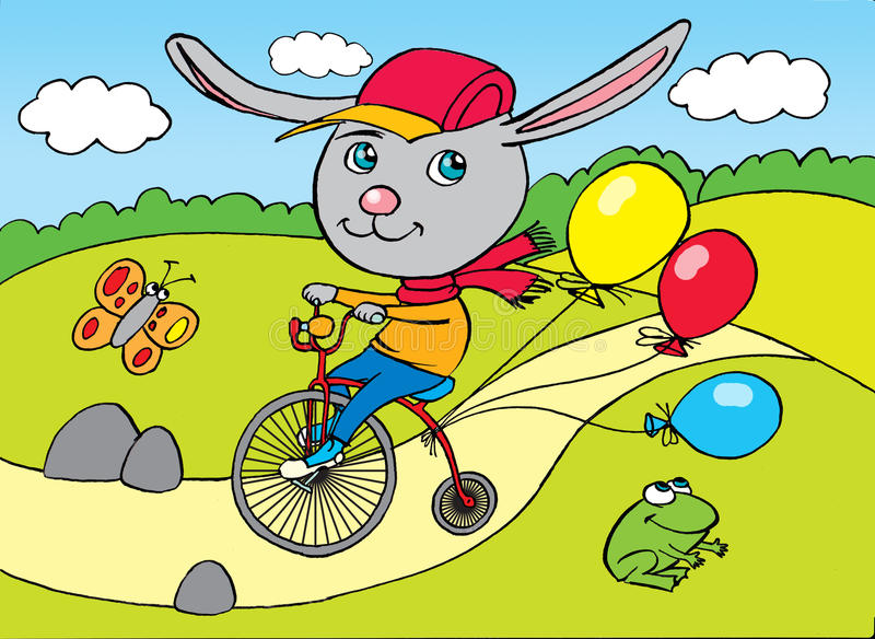 Conejo en la bicicleta de la ciudad, dibujando libre illustration