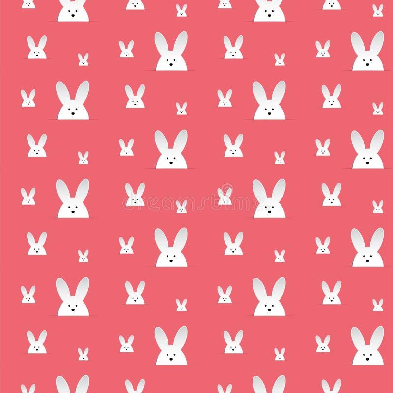 Conejo feliz Bunny Pink Seamless Background de Pascua stock de ilustración
