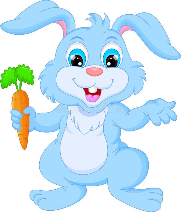 Conejo feliz de la historieta que sostiene la zanahoria stock de ilustración