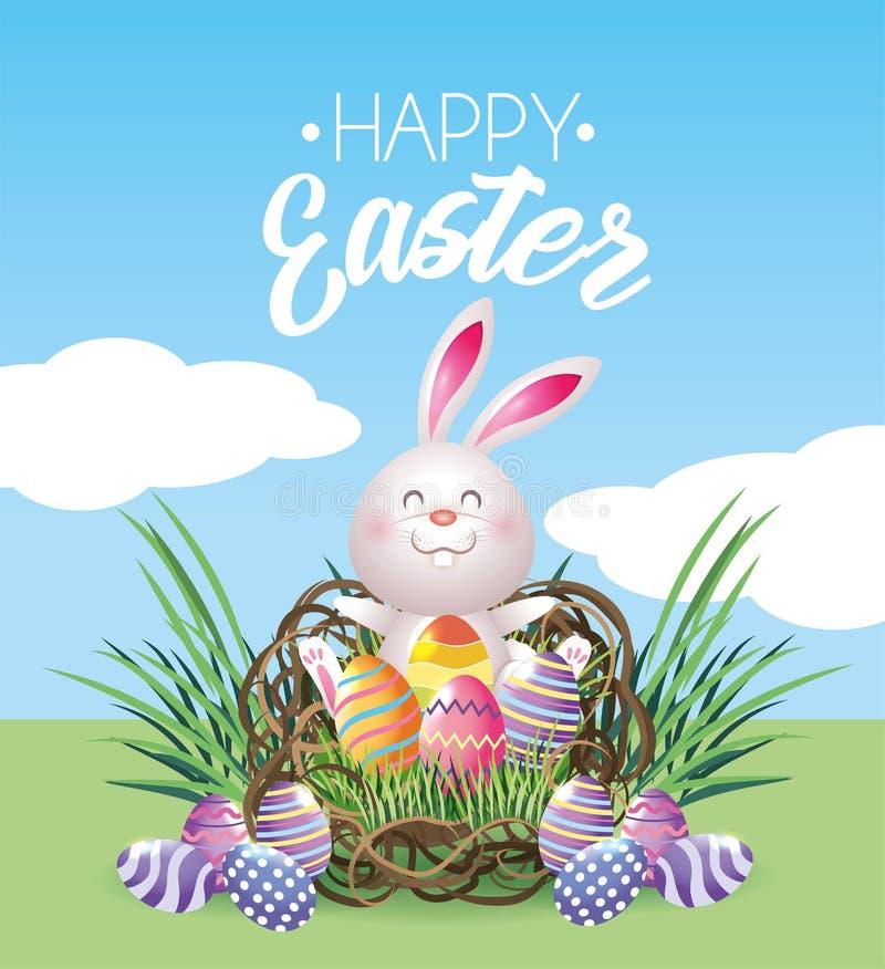 Conejo feliz de pascua con la decoración de los huevos dentro de la jerarquía libre illustration