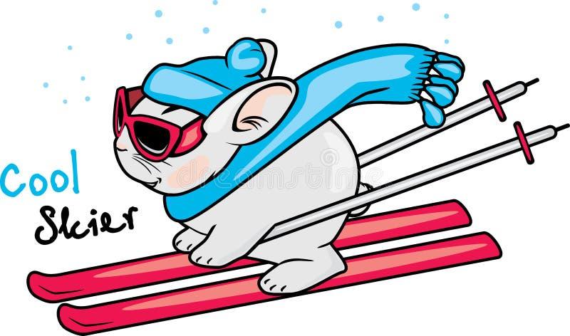 Conejo fresco en los esquís ilustración del vector