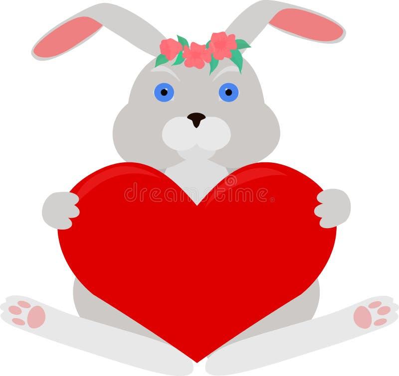 Conejo gris con el corazón rojo stock de ilustración