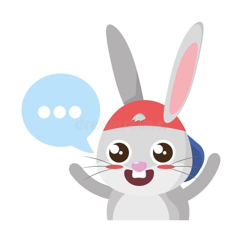 Conejo hermoso con la burbuja pascua del discurso ilustración del vector