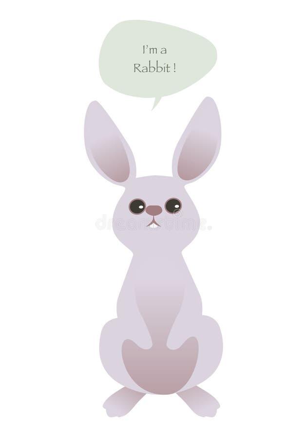 Conejo lindo aislado en el fondo y el globo de discurso blancos Ilustración del vector stock de ilustración