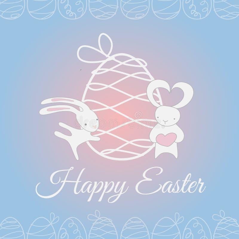 Conejo lindo blanco de Pascua ilustración del vector