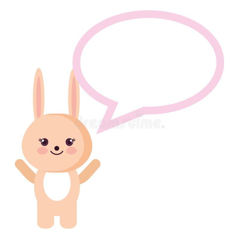 Conejo lindo con el carácter del kawaii de la burbuja del discurso stock de ilustración