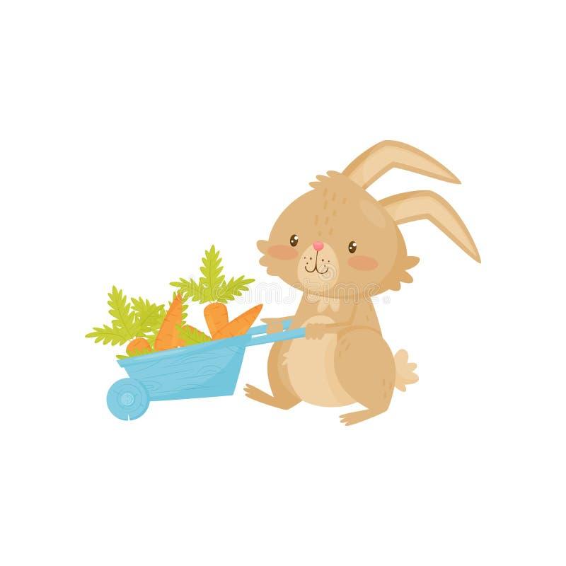 Conejo lindo con la carretilla azul por completo de la zanahoria Conejito marrón lindo con los oídos largos y la cola corta Icono stock de ilustración