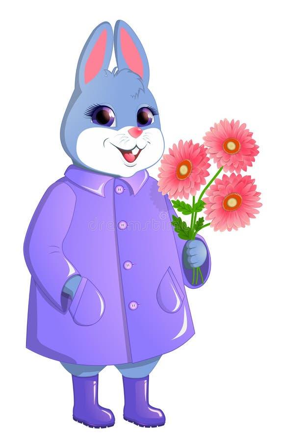 Conejo lindo con un ramo de gerberas ilustración del vector