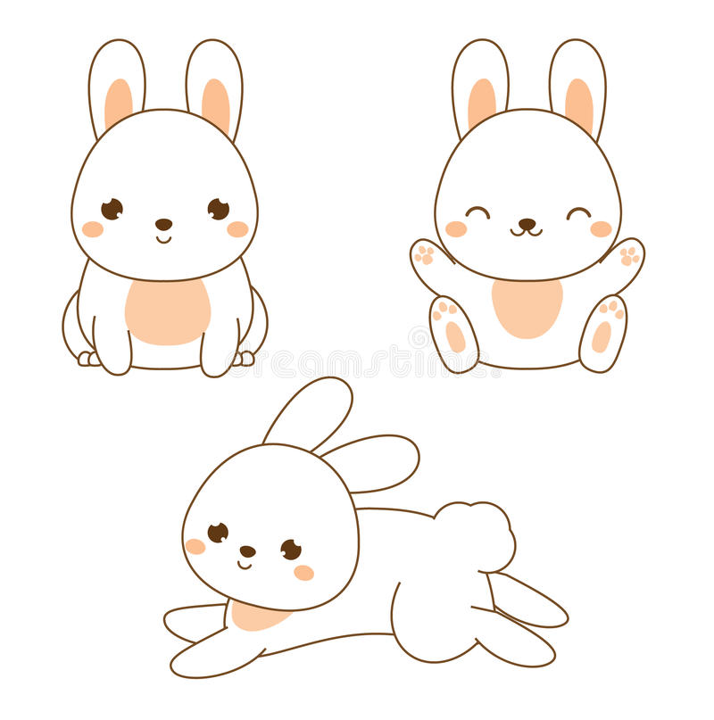 Conejo lindo Conejito de Kawaii Sentada y salto blancos de las liebres Carácter animal de la historieta para la moda de los niños stock de ilustración