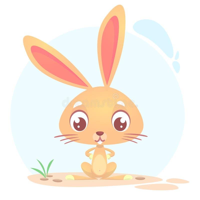 Conejo lindo de la historieta Animales del campo Vector el ejemplo de una sentada del conejito aislado en fondo simple libre illustration