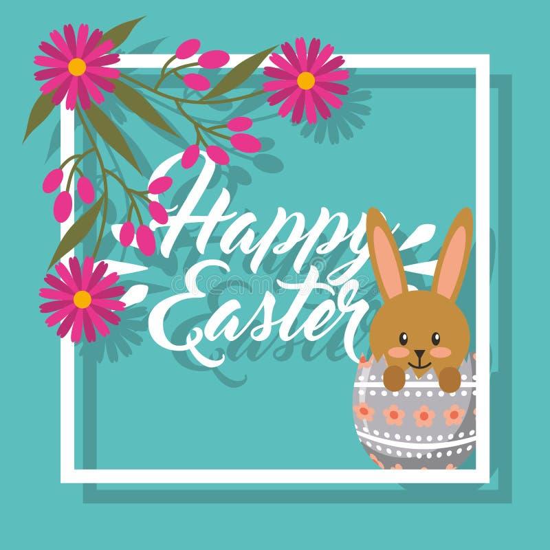 Conejo Lindo Dentro Del Marco Floral Pascua Feliz Del Huevo Quebrado ...