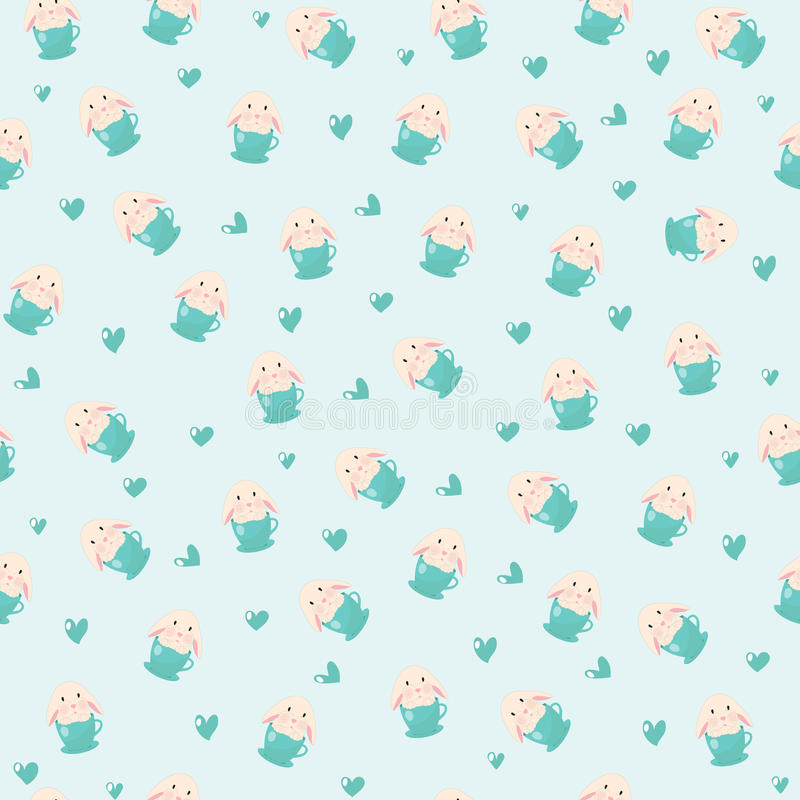 Conejo lindo en el ejemplo de la taza de té y de los corazones, modelo inconsútil en fondo azul stock de ilustración