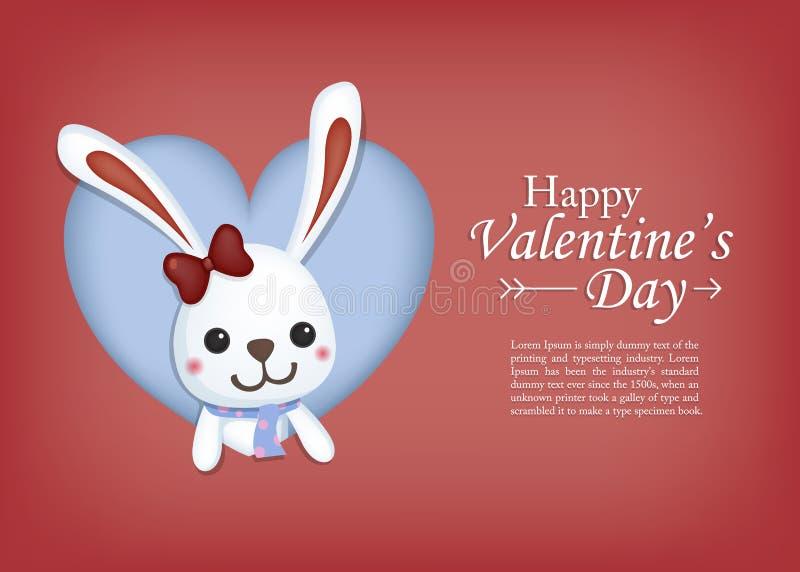 Conejo lindo en marco del corazón Tarjeta de felicitación del día del `s de la tarjeta del día de San Valentín stock de ilustración