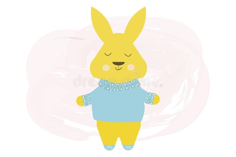 Conejo lindo feliz en el suéter azul - ejemplo de la historieta del vector libre illustration