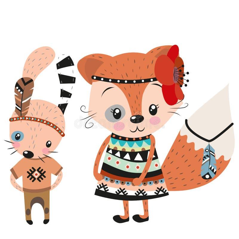 Conejo lindo y Fox en un fondo blanco ilustración del vector