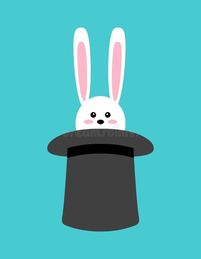 Conejo mágico en sombrero Ejemplo del vector en estilo plano del diseño de la historieta stock de ilustración