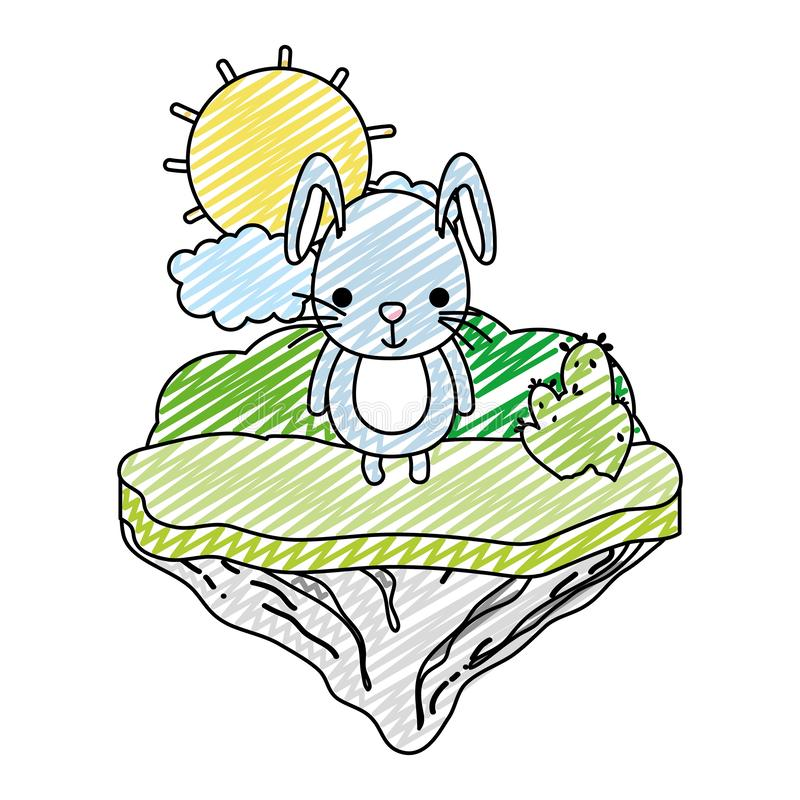 Conejo masculino lindo del garabato en la isla del flotador ilustración del vector