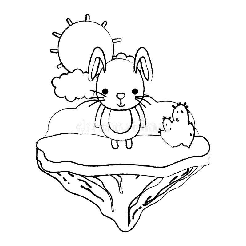 Conejo masculino lindo del Grunge en la isla del flotador stock de ilustración