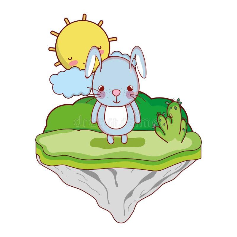 Conejo masculino lindo en la isla del flotador stock de ilustración