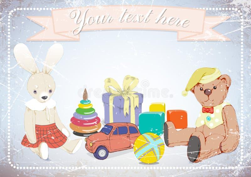 Conejo, oso de peluche, regalos, en fondo del grunge con el espacio para el texto Ilustración stock de ilustración