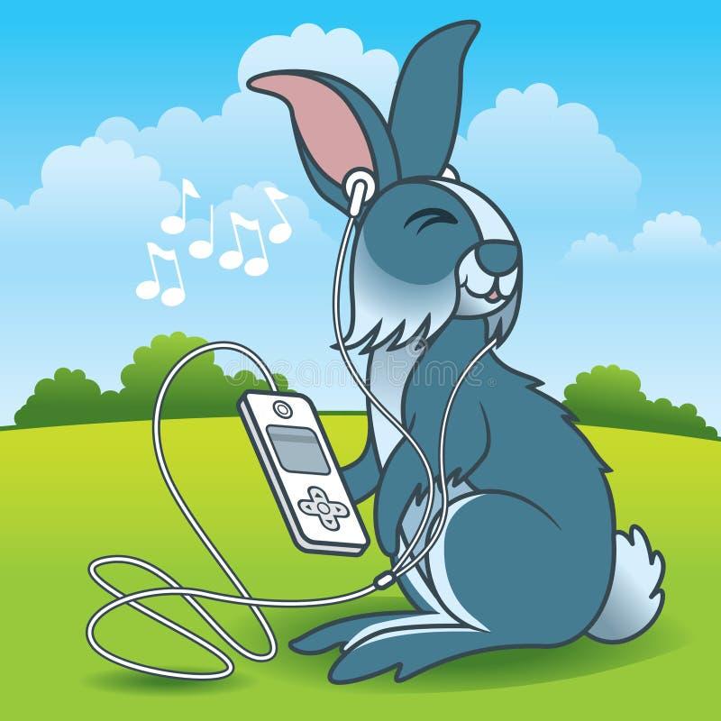 Conejo que escucha la música ilustración del vector