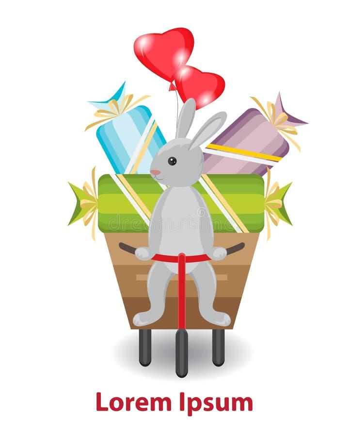 Conejo que se sienta en un triciclo con un carro El carácter lleva stock de ilustración