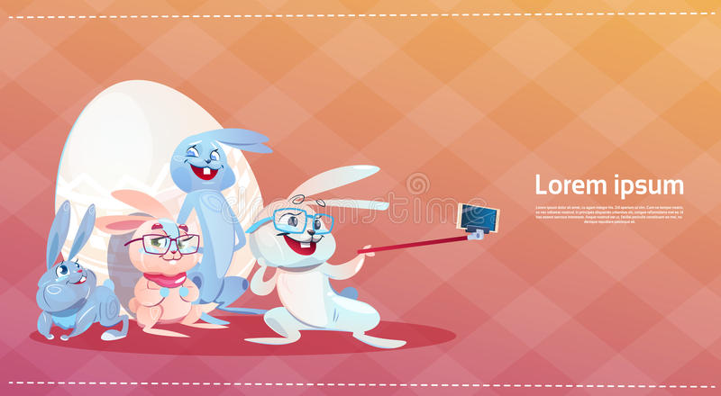 Conejo que tarda el día de fiesta Bunny Decorated Eggs Greeting Card de Pascua de la foto de Selfie ilustración del vector