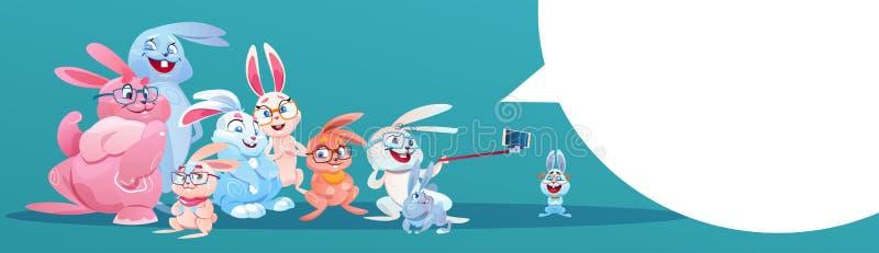 Conejo que tarda el día de fiesta Bunny Group Greeting Card de Pascua de la foto de Selfie libre illustration