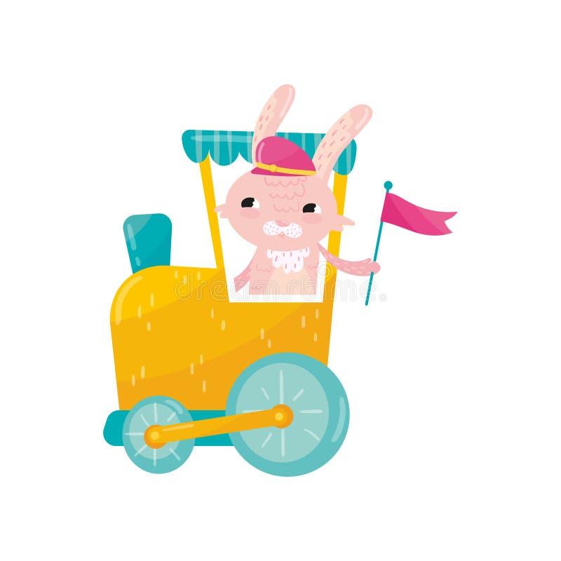 Conejo rosado divertido en el casquillo enarbolado que sostiene la bandera en pata Carácter animal de la historieta que viaja en  libre illustration
