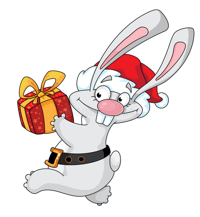 Conejo Santa con el rectángulo de regalo libre illustration