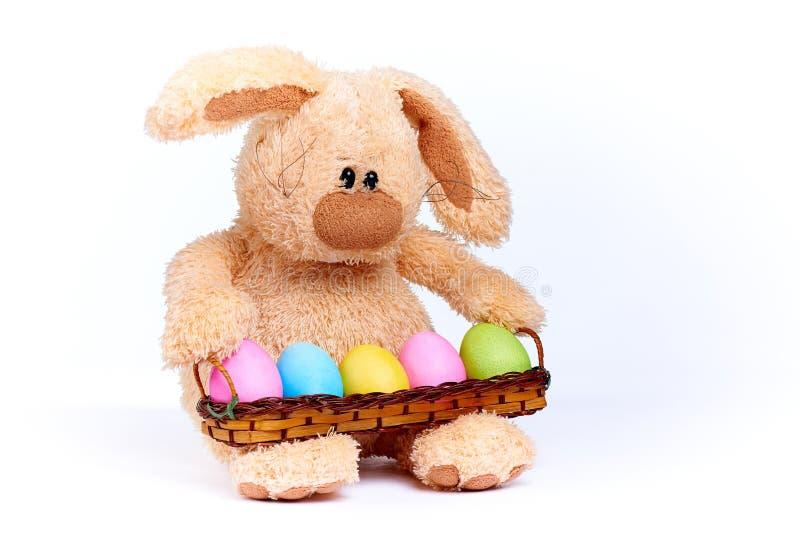 Conejo suave relleno con los huevos pintados brillantes coloridos fotos de archivo libres de regalías