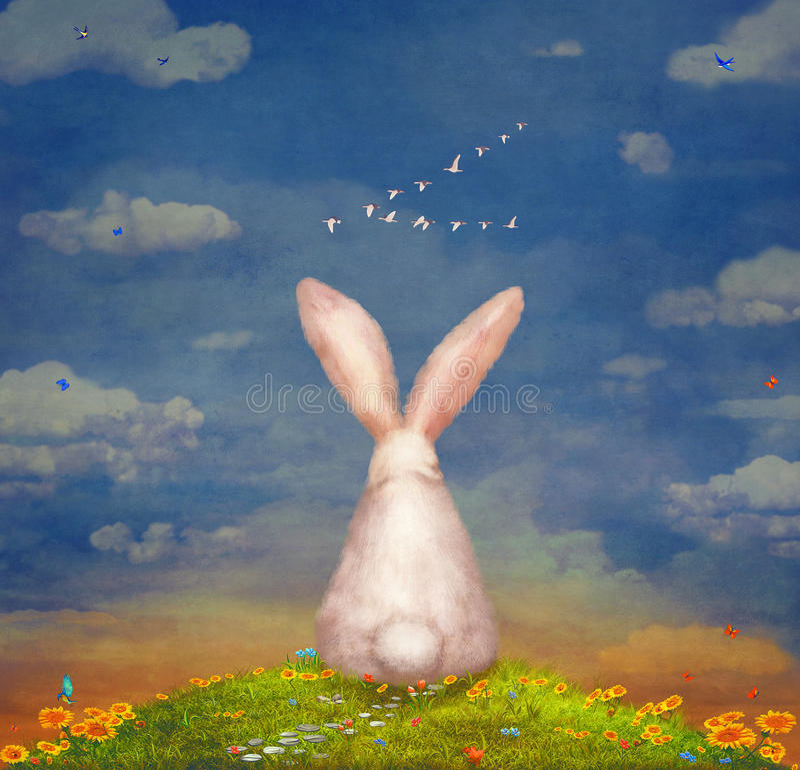 Conejo triste que se sienta en la hierba en el prado libre illustration