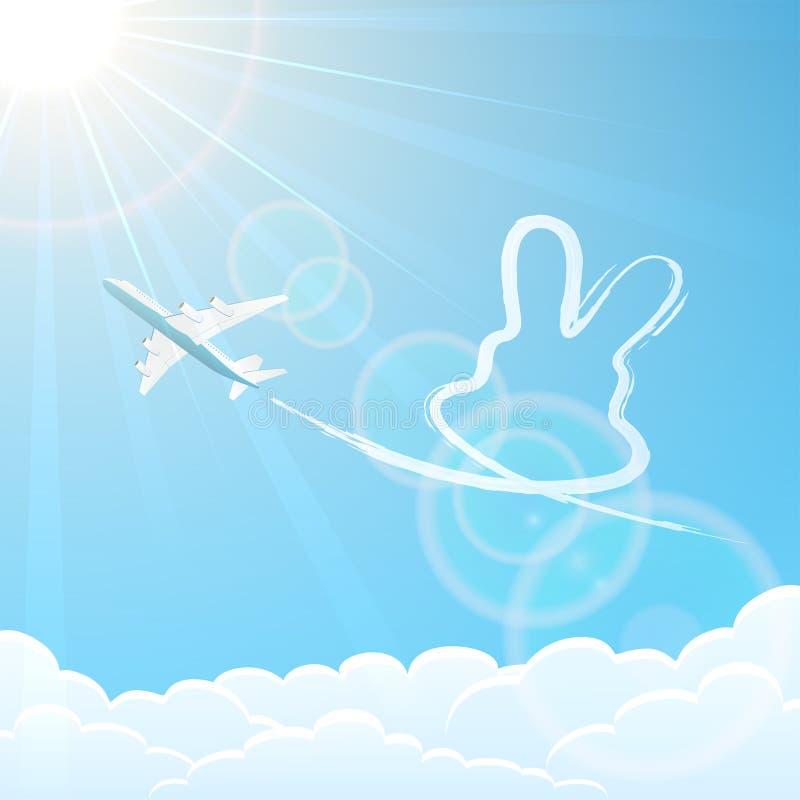 Conejo y avión en el cielo libre illustration