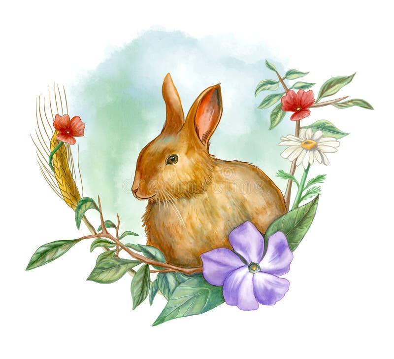 Conejo y composición floral stock de ilustración