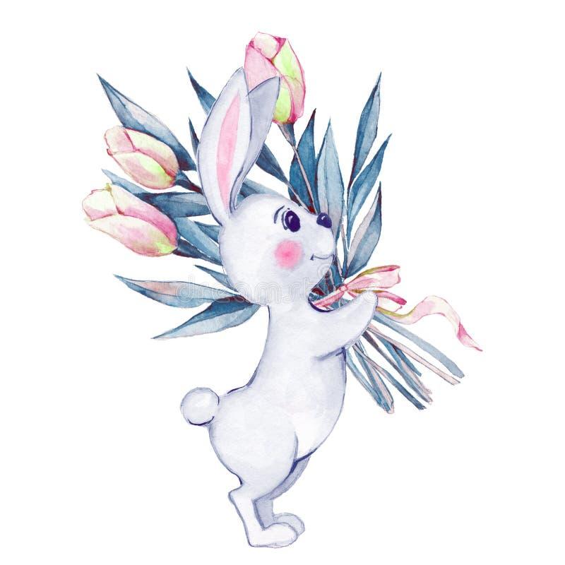 Conejo y flores Ilustración de la acuarela libre illustration