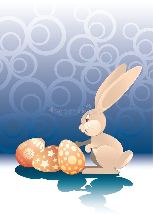 Conejo y huevos de Pascua stock de ilustración