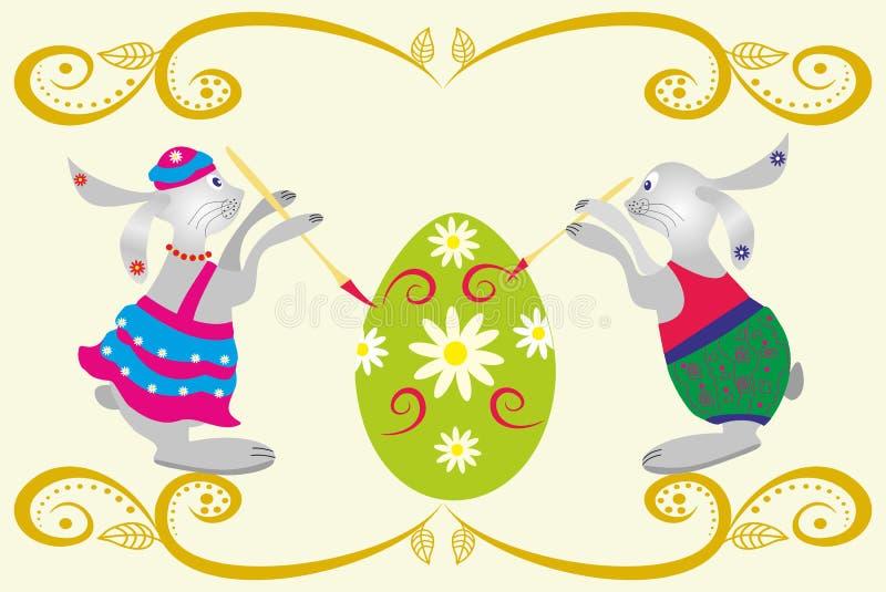 Conejo y huevos de Pascua libre illustration