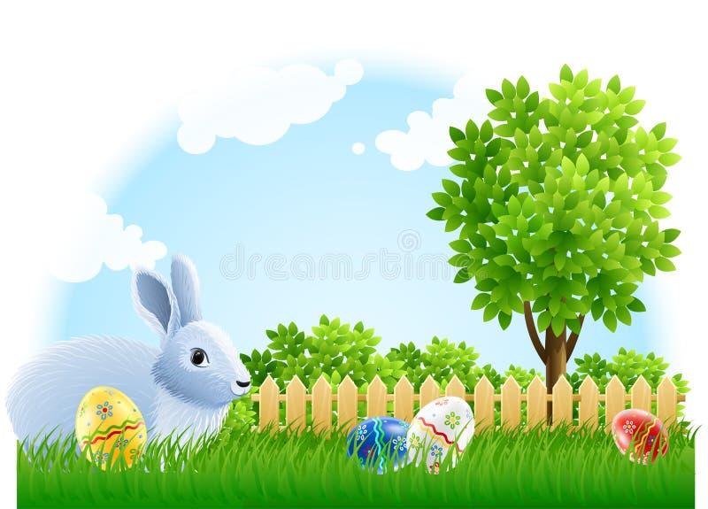 Conejo y huevos de Pascua en la hierba verde del jardín ilustración del vector